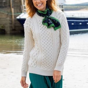 NEW Aran Sweater Market Donegal Merino Blasket Honeycomb Stitch Sweater Gray S